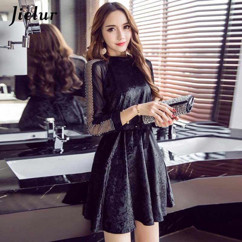 Jielur Autumn Belt Hollow Long Sleeve Lace Dress Women European Fashion Black Moda Mujer S-XL Charming Vestido Vintage Dropship