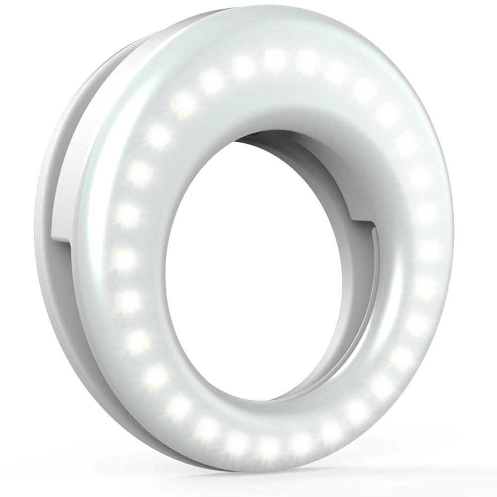 FGHGF Clip On Ring Light for Camera Selfie LED Camera Light with 36 LED for Smart Phone Camera, Round Shape
