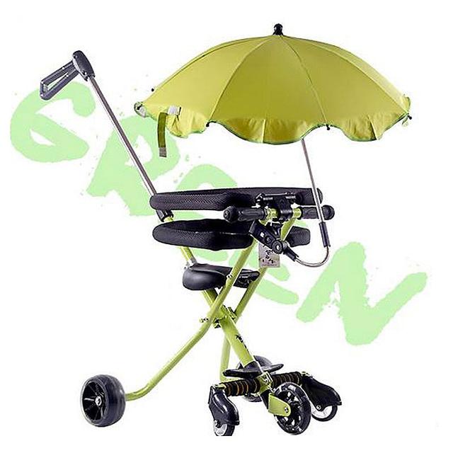 Triciclo plegable portátil de cinco ruedas con empuñadura manual para bebé triciclo cochecito con paraguas rueda de Flash para bebé