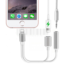 2 in 1 For Lightning 3.5mm Charging Audio Adapter For iPhone 7/Plus Headphone Earphone Jack Charger Cable Connector Aux Cable