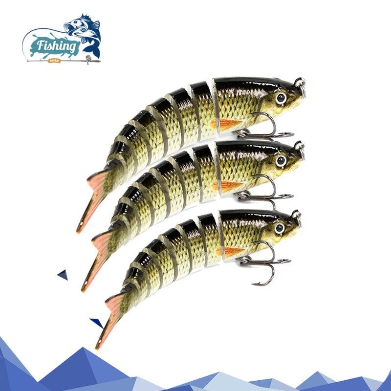 1 PCS 8,5 cm 8,1g Angeln Wobbler 8 Segmente Swimbait angeln muskie crankbait Locken mit Künstliche Haken in Ozean boot Angeln
