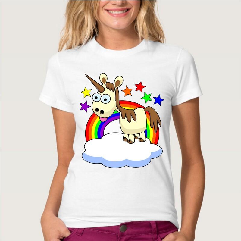 HTB1CubhMVXXXXczXVXXq6xXFXXXu - Newest Funny Unicorn Rainbows T Shirt Womens Fashion