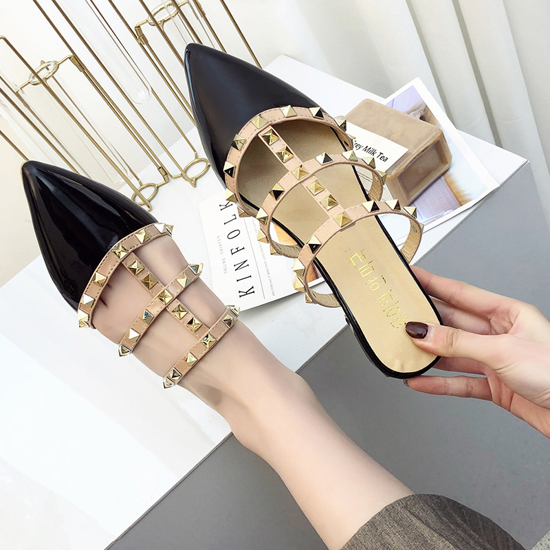 2019 hot summer fashion patent leather women 39 s shoes pointed rivets after the air half hollow sexy thin flat sandals852 in Women 39 s Sandals from Shoes