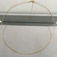 18K Gold Necklace Simple Style Adjustable Size It can match with any pendant or lucky beads Fine Jewelry torques