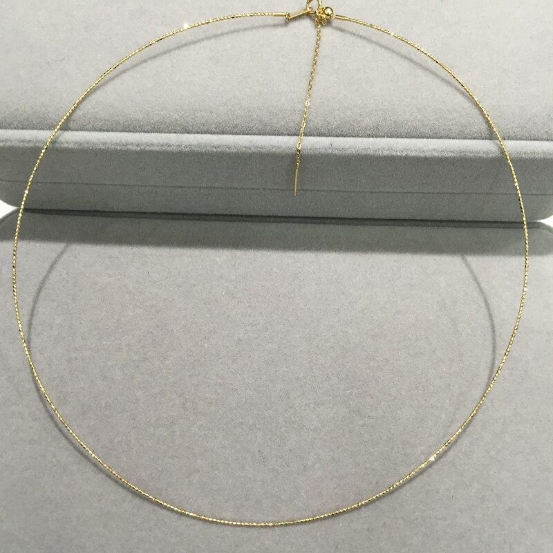 Collier en or 18 K Style Simple taille réglable il peut correspondre à n'importe quel pendentif ou perles porte-bonheur couples de bijoux fins