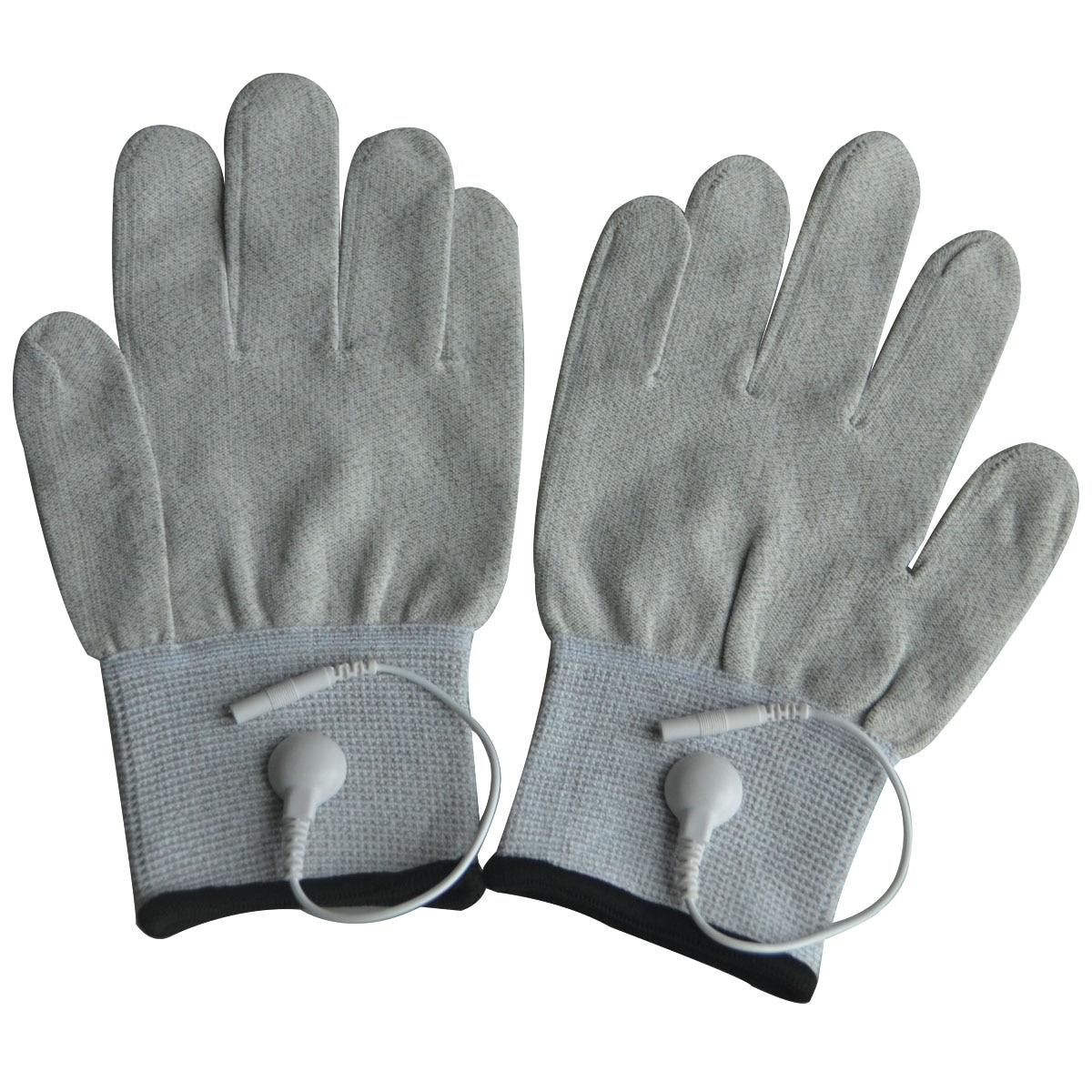10 Pairs/Pack Conductive Massage Gloves physiotherapy electrotherapy electrode Gloves Use with Tens Massage Light Gray цена
