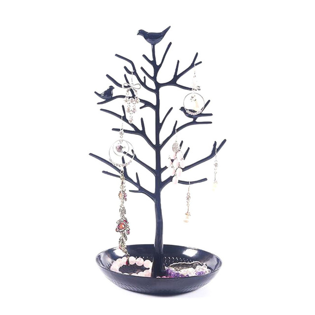 Black Birds Tree Tabletop Jewelry Display Necklace Earring Stands Ring Bracelet Holder Organizer Rack