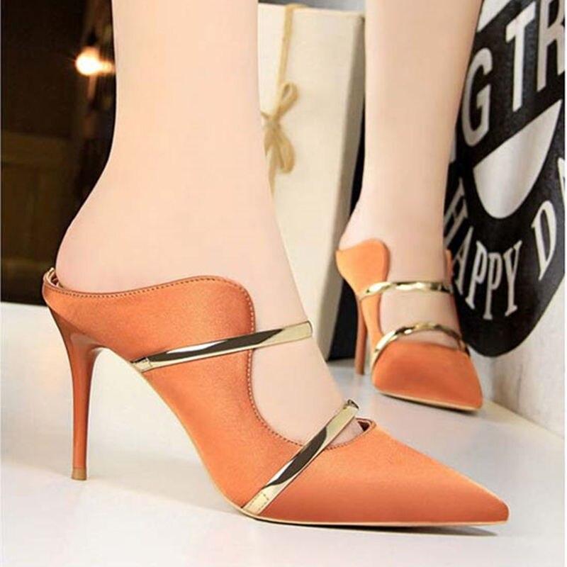 Peak Luxus Spitz Plateau Sandalen Metall Flach Heel Faul Hausschuhe Schuhe Frauen Pumps Abend Als PicAce High Damen XOkZiuP