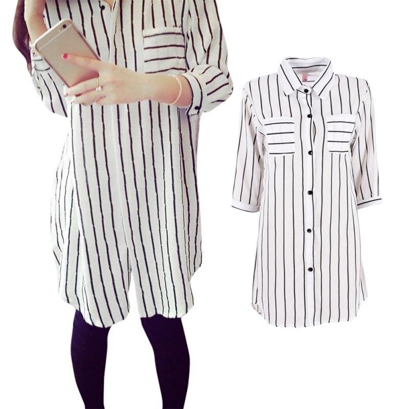 Gasa del verano de Rayas Blusa de la Mujer Media Manga Larga Camisas Tops Tallas