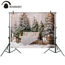 Allenjoy photography backdrop Christmas interior snow with tree and a wooden bench new background photocall custom photo printed