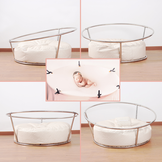 Newborn photography props posing steel pipe frame steel sofa bebe accessoires photographiques newborn posing nest round