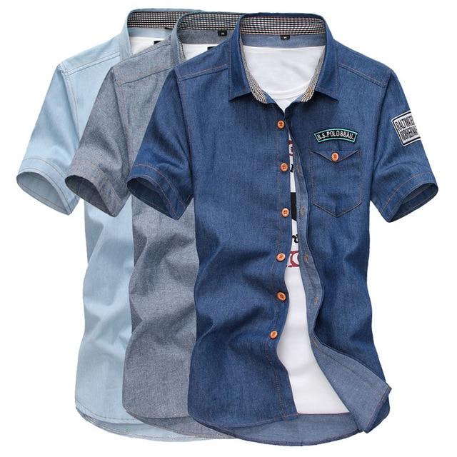 Pantalones Vaqueros de los hombres Chemise Homme Camisa 2016 de La Moda Primavera Verano Camisa de Vestir Para Hombre Camisas de Manga Corta Camisa de Mezclilla Denim Hombre