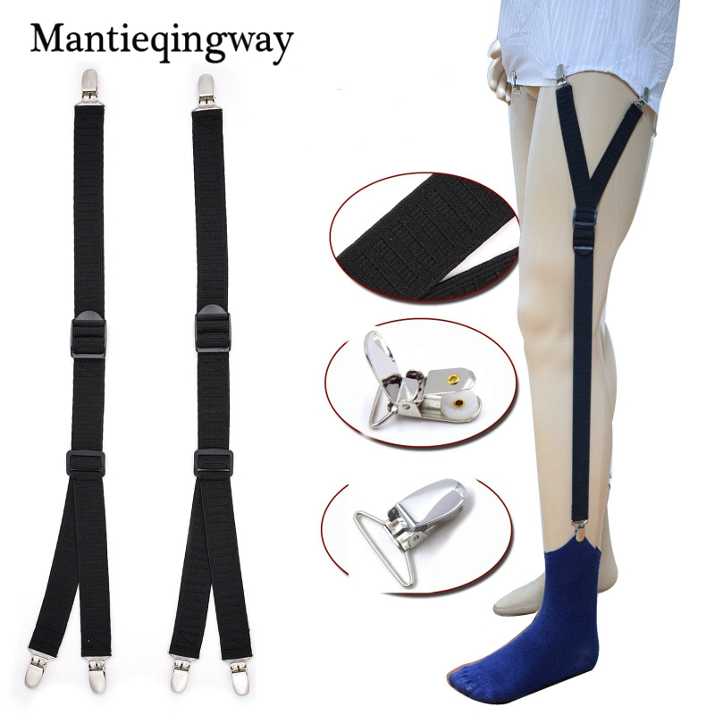 Mantieqingway Business Shirts Holders for Mens Adjustable Sock Garter Belt Braces Elastic Suspender Braces Locking Suspender