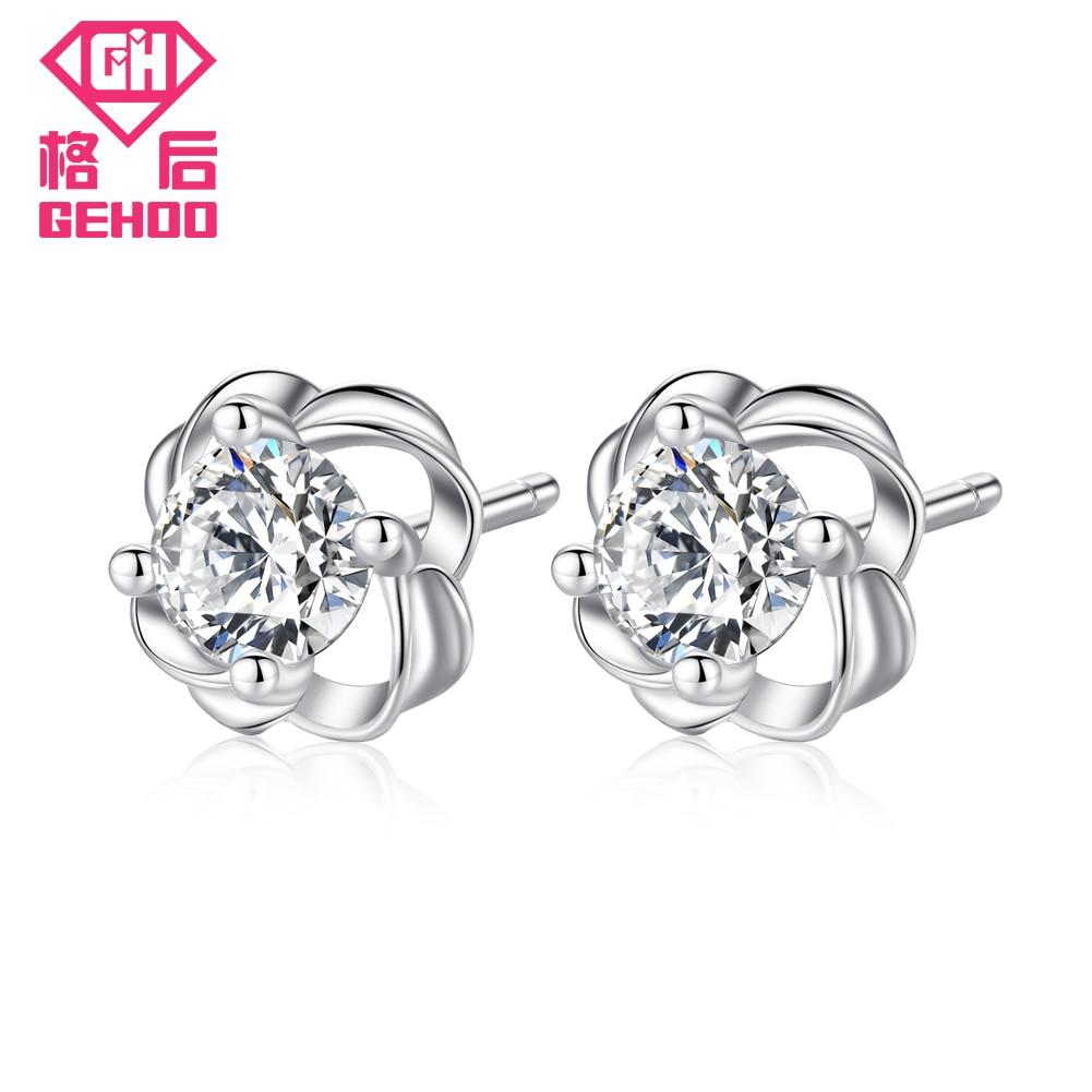 9e634e4504c6 Gehoo Rose romántica de la flor Pendientes de broche 925 sólido plata CZ  ZIRCON diseño pendiente chispeante Joyería fina para las mujeres chica