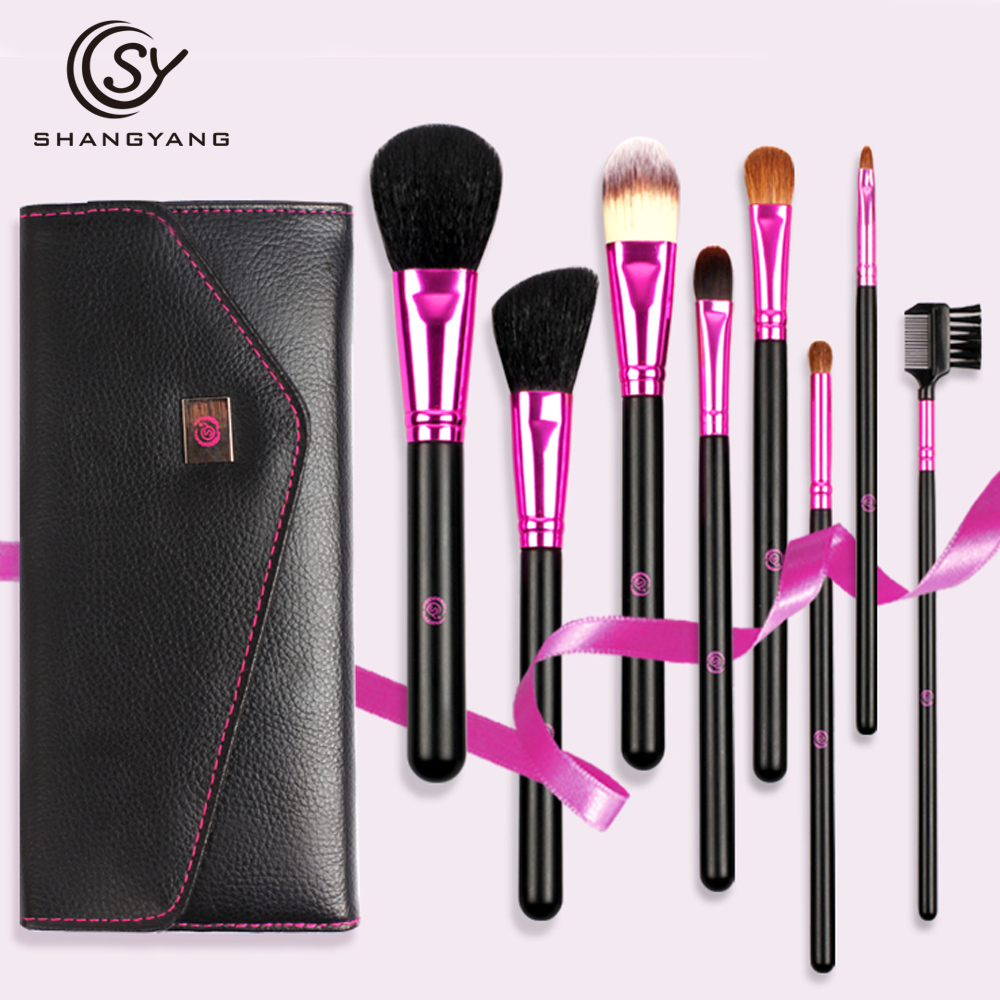 sy New Arrival Makeup Brushes professional Cosmetics brush Set 8pcs High Quality top Synthetic Hair With Portable Bag brush set купить