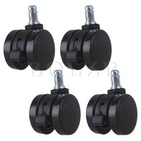 4pcs Furniture Office Chair PU Swivel Caster Wheel BQLZR Grip Ring Stem W Brake