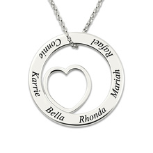 AILIN Engraved Silver Love Circle Necklace White Gold Color Personalized Family Name Jewelry for Grandma