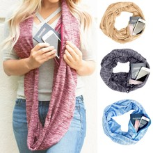 Women Solid Winter Convertible Infinity Scarf Pocket Loop Zipper Pocket Scarves