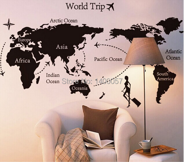 Hot travel around the world wall stickers world map decal large area hot travel around the world wall stickers world map decal large area wallpapers black wall quote office decor free shopping in wall stickers from home gumiabroncs Gallery