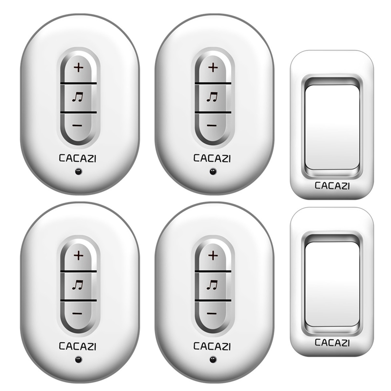 CACAZI Wireless Doorbell 2 waterproof buttons+4 plug-in receivers AC 110-220V 280M remote door bell 48 rings 6 volume door chime social housing in glasgow volume 2