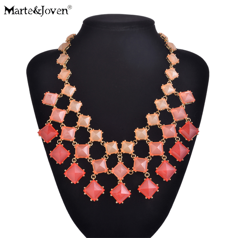 Marte&Joven Multi-layer Gradient Color Statement Chokers Neklaces for Women Fashion Square Chunky Necklace Ladies Luxury Jewelry