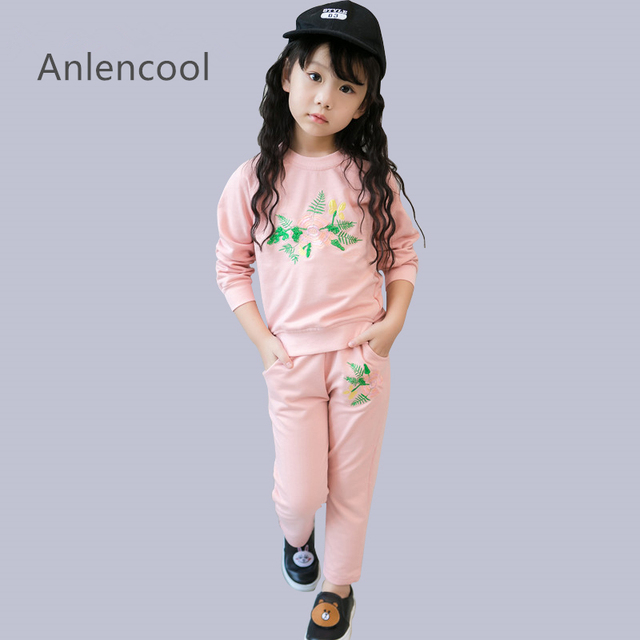 Anlencool Girls Clothes Winter  New Kids Girls Clothes Fashion Girls Cloting Sets Long Sleeved Embroidered Tops+Pants 2Pcs