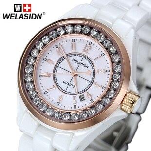 Watch women's watch white ceramic ladies watch fashion table quartz watch waterproof watch