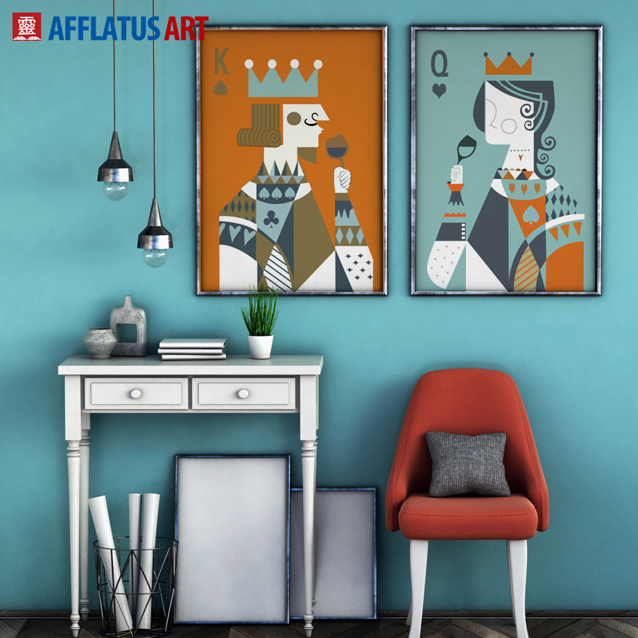 Aliexpress.com : Buy AFFLATUS Nordic Canvas Painting Poker Wall Art  Painting Canvas Poster Decoration Print Wall Pictures For Living Room Home  Decor from ...