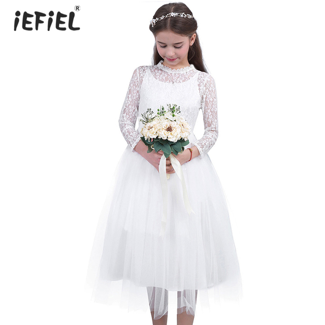 Cute White Lace Flower Girl Dress With Long Sleeves for Weddings Children Prom Gown Girls Princess First Communion Party Dresses