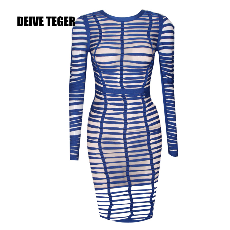 DEIVE TEGER Autumn Elegant Evening Party Long Sleeve Bodycon Mesh Hollow Out Blue Perspective Bandage Dress HL2606 autumn long lace dress cut out pink blue fit and flare sleeve bodycon tunic evening party midi dress european style