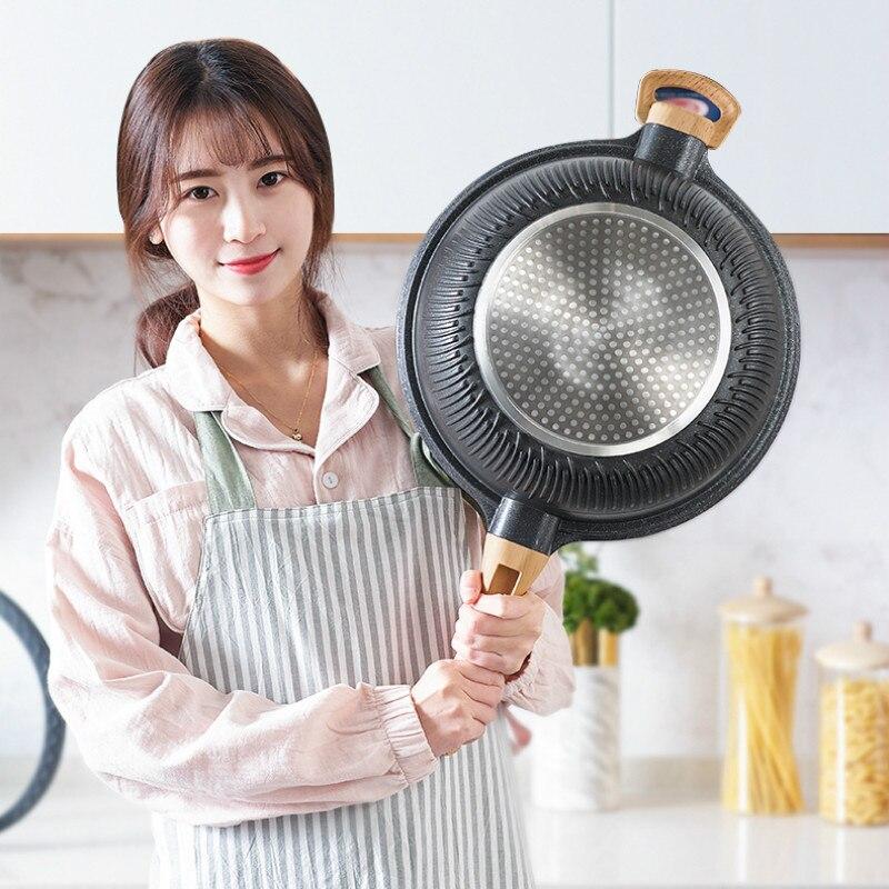 Non stick patelnia gospodarstwa domowego wielofunkcyjny z płaskim dnem kuchenka elektromagnetyczne kuchenka gazowa nadaje się do gotowania patelnia typu wok w Patelnie od Dom i ogród na  Grupa 1