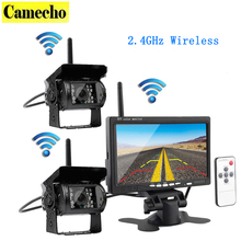 """Wireless Vehicle Car 2 Backup Cameras Monitor, Ir Night Vision Rear View Camera + 7"""" Monitor for RV Truck Trailer Bus Campers"""