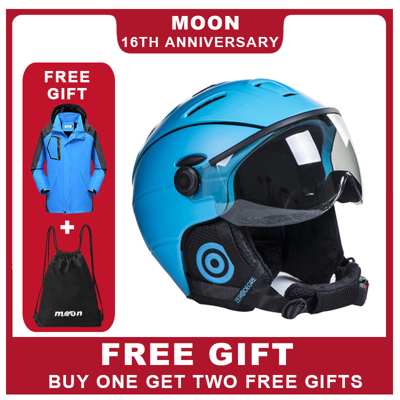 Лунные очки лыжный шлем интегрально-литой ПК + EPS CE сертификат лыжный шлем Спорт на открытом воздухе Лыжный Сноуборд Скейтборд