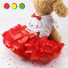 Small Dog Clothes Sweet Female Girl Lady Pet Puppy Bow Dress Classic Bright Candy Rainbow Color Princess Gown