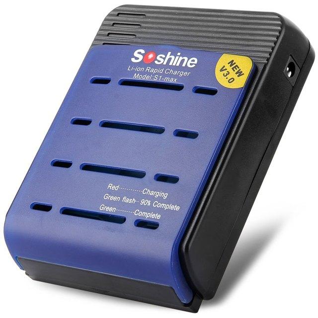 Alta Calidad S1max Soshine V3 Fout Ranuras 18650 17650 17500 Cargador de Batería de LA UE/EE.UU. Adaptador 100-240 V Función de Carga Rápida