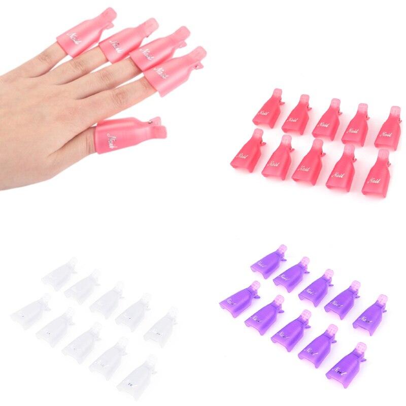 10pcs New Fashion Remover Gel Polish Nail Art Soakers UV Nail Degreaser Polish Wrap Tool Nails Remover Soak Off Cap Clip
