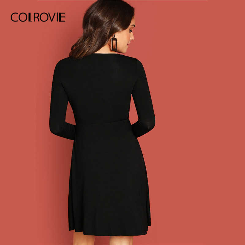 COLROVIE черное сексуальное женское платье с v-образным вырезом и бантом по бокам 2019 весеннее модное женское элегантное короткое платье трапециевидной формы с длинным рукавом