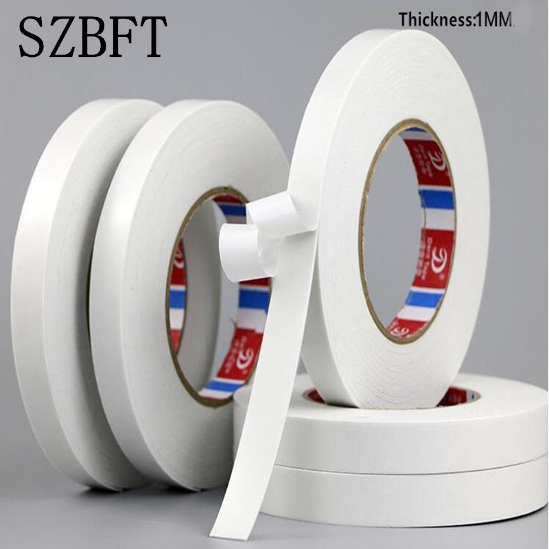 SZBFT 1MM thickness 10M white Super Strong Self Adhesive Foam Car Trim Body Double Sided Tape Mobile phone dust-proof tape 5m strong waterproof adhesive double sided foam tape car trim plate width 6 9 12 19 25 38 50mm