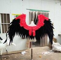 Черный и красный цвета мультфильм ангельские крылья с перьями для модных выставочные дисплеи Свадебный съемки реквизит игровой костюм для