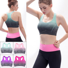 ALBREDA Gradient Breathable Sports Bras Women Quick Dry Padded Sports Top for Fitness Yoga Running Gym Seamless Sport vest Top