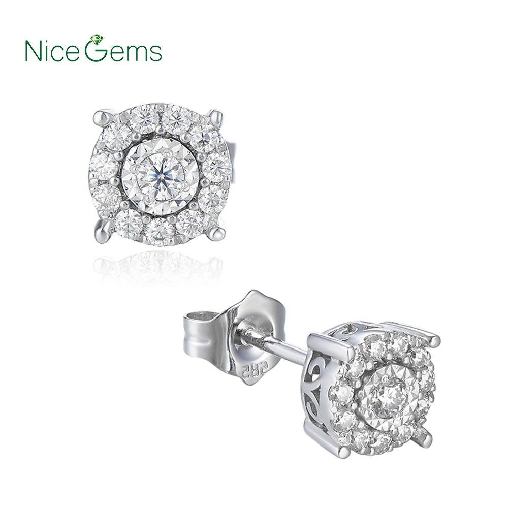 يدويا البلاتين مطلي الفضة FG اللون جولة مختبر مكون المويسانتي الماس أقراط 1/3 ct. Tw VVS1 ل BirthdayGift-في الأقراط من الإكسسوارات والجواهر على  مجموعة 2