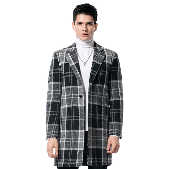 2017 New Autumn& Winter Men Fashion Plaid Coat Thicker Casual Loose Male Wools&Blends High Quality Size M~3XL Free Shipping