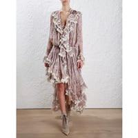 Women Long Sleeves Layered Cuffs Lavender Floral Print Asymmetrical Dress Silk Maxi Dress