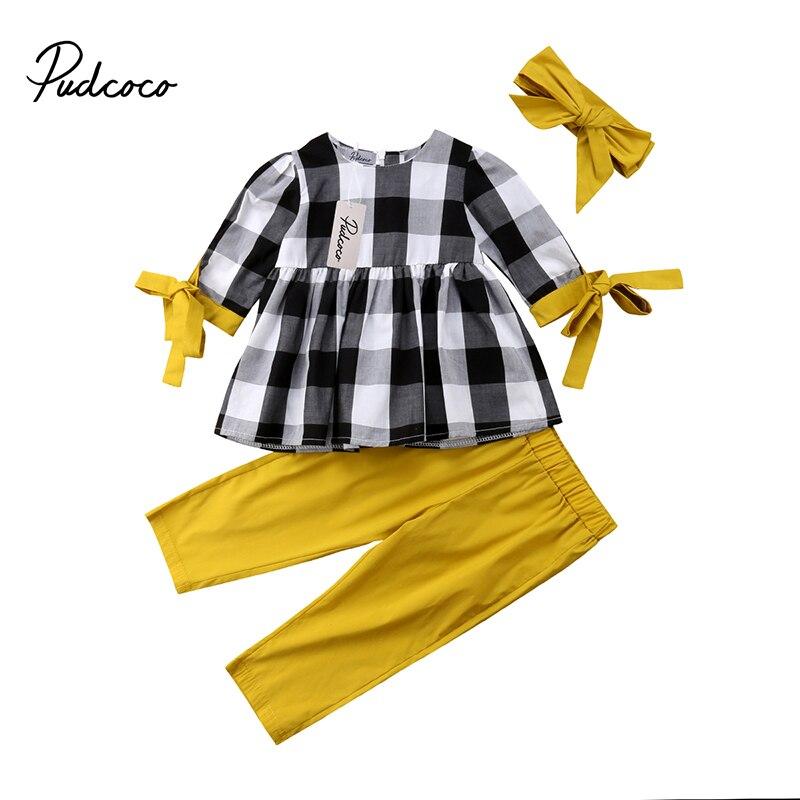 цена на Toddler Kid Baby Girl Autumn Winter Clothes Bowknot Plaid Tops Shirt Pants Leggings Set Outfits Clothing 3pcs