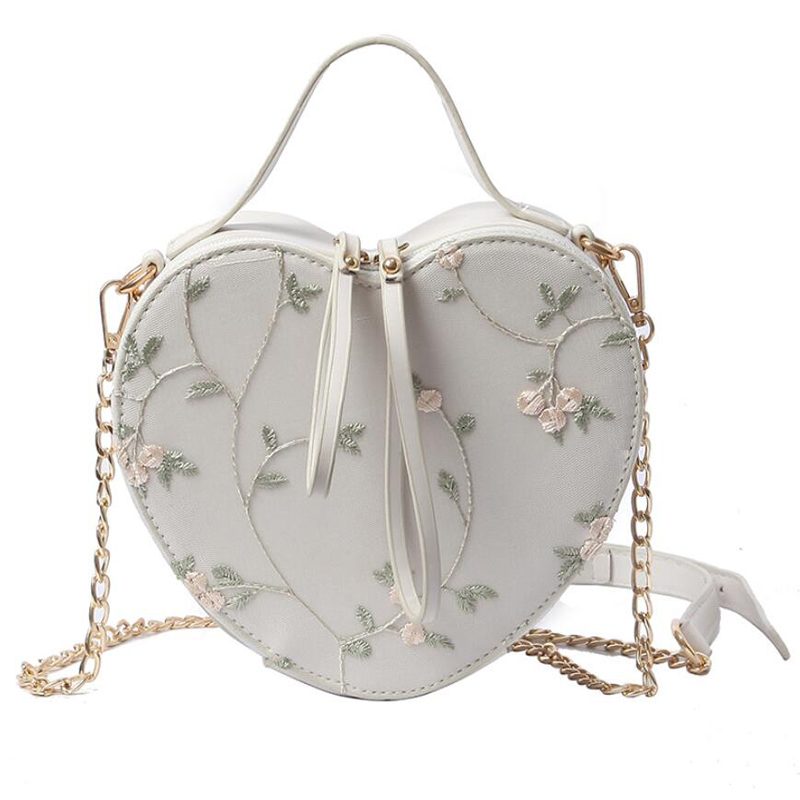 все цены на Ins Hot sale Floral Embroidery Handbag Shoulder Bag Heart Shaped Leather Chain Messenger Bags Crossbody Purse Clutch Small Bag