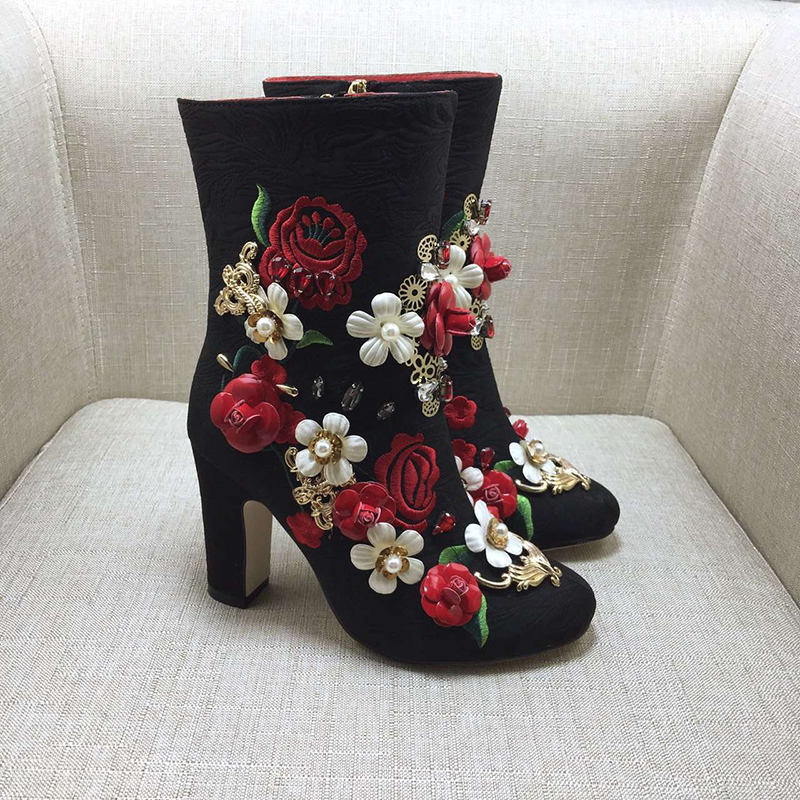 Fashion Pointed Toe High Heel Botas Mujer Multicolored Luxury Flower Embellished Ankle Boots Wedding Party Dress Shoes Woman hot sale vintage round toe high heel cowboy booties mujer fringe rivets embellished ankle boots wedding party dress shoes women