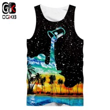 OGKB Unisex Tank Top Summer Cool Print Cup Pour Milk 3D Singlets Vest For Women/men Hiphop Punk Shirts Sleeveless Tees 5XL(China)