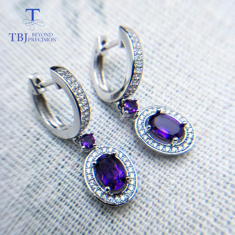 TBJ natural africa amethyst and garnet rhodolite gemstone earring jewelry in 925 sterling silver for woman