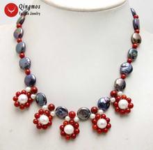 Qingmos ожерелье с подвеской из натурального жемчуга для женщин