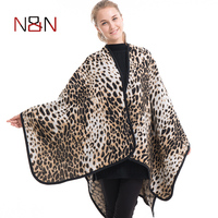 NN Luxury Brand Women Leopard Printed Poncho Scarf Fashion Oversized Blanket Wrap Wool Capes Women Pashmina Shawls and Scarves